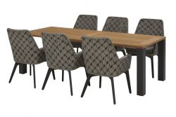 4 Seasons Outdoor Savoy dining set met union dining tafel aluminium poten