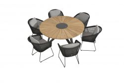 4 Seasons Outdoor Mila eetset met global sunrise teak eetset 160 cm Rope teak tuinmeubelen