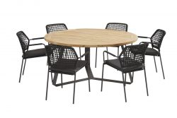 Barista antracite dining set with round Basso table 160 cm
