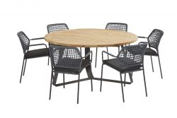 Barista blue dining set with round Basso table 160 cm