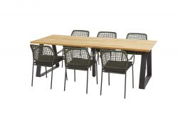 Barista green dining set with Basso table 240x100 cm