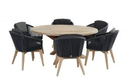Santander dining set black with Louvre round Teak table 160cm