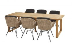 Taste by 4 Seasons Bohemian dining set natural with Spartan table 240 x 100 cm
