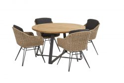 Taste by 4 Seasons Bohemian dining set natural with round Basso table-