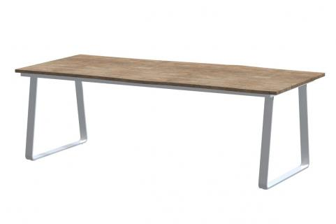 Robusto teak top with konos frost grey frame 220 x 95 cm_