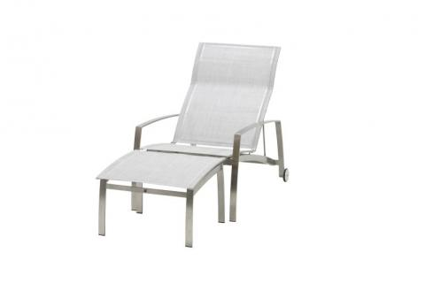 4 Seasons Outdoor Summit stainless steel deckchair and footstool